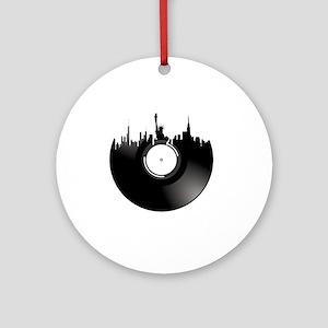 New York City Vinyl Record Round Ornament