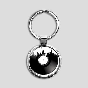 New York City Vinyl Record Round Keychain
