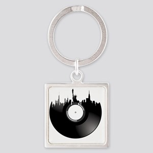 New York City Vinyl Record Square Keychain