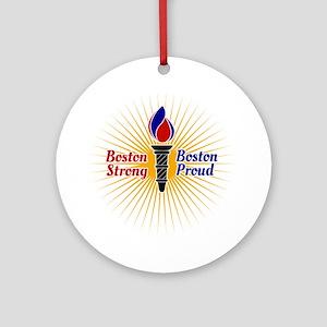 Boston Strong, Boston Proud Torch Round Ornament