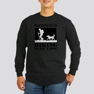 Happiness is Hiking with  Long Sleeve Dark T-Shirt