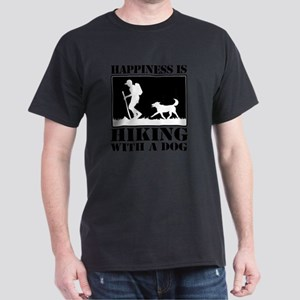 Happiness is Hiking with a Dog Dark T-Shirt