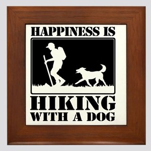 Happiness is Hiking with a Dog Framed Tile