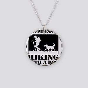 Happiness is Hiking with a D Necklace Circle Charm