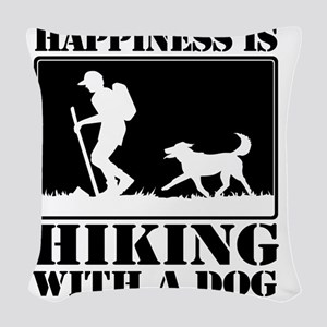 Happiness is Hiking with a Dog Woven Throw Pillow