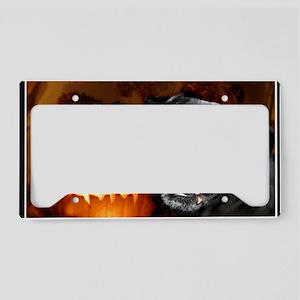 Halloween pug card License Plate Holder