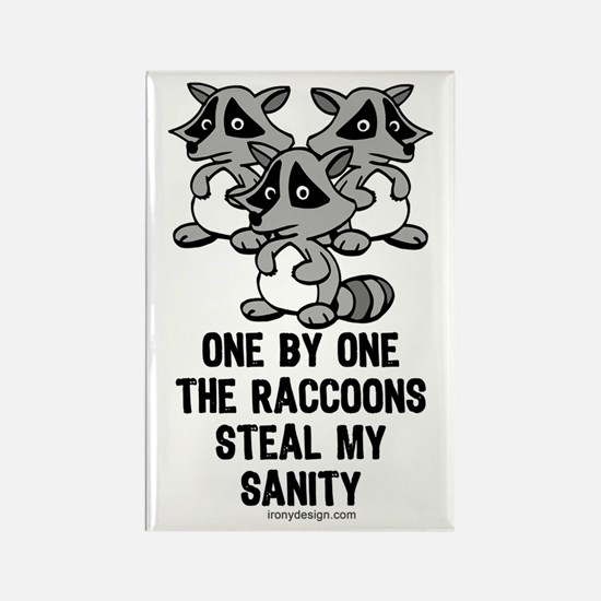 One By One The Raccoons Rectangle Magnet