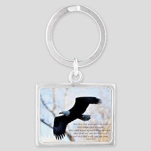 Isaiah 40:31 Eagle Soaring Landscape Keychain