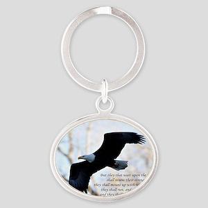 Isaiah 40:31 Eagle Soaring Oval Keychain