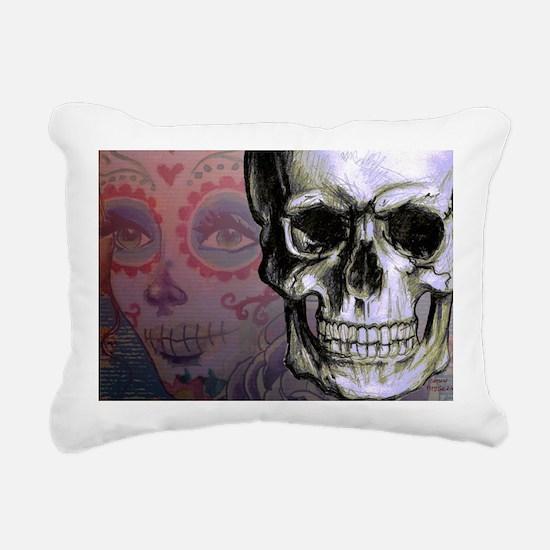 Skull with Dia de los Mu Rectangular Canvas Pillow
