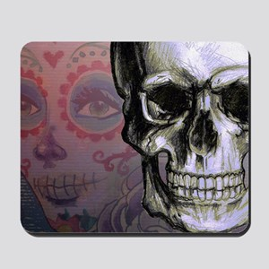 Skull with Dia de los Muertos woman Mousepad