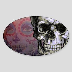 Skull with Dia de los Muertos woman Sticker (Oval)
