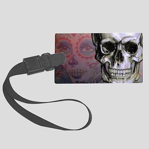 Skull with Dia de los Muertos wo Large Luggage Tag