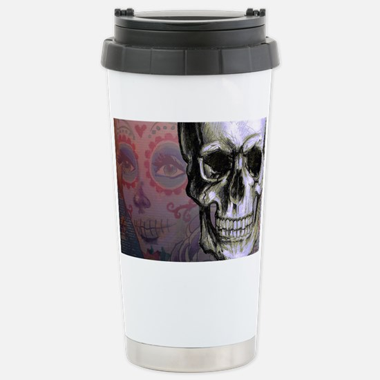 Skull with Dia de los M Stainless Steel Travel Mug