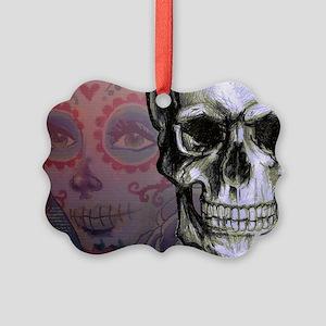 Skull with Dia de los Muertos wom Picture Ornament