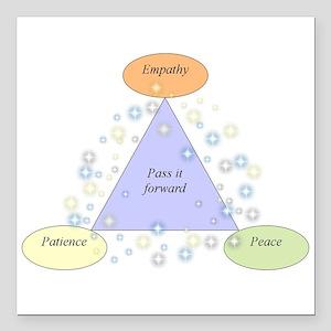 "patience empathy peace - lg Square Car Magnet 3"" x"