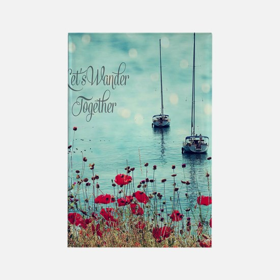 Sea and Poppies Rectangle Magnet