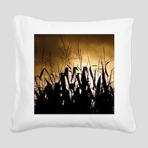 Corn field silhouettes Square Canvas Pillow