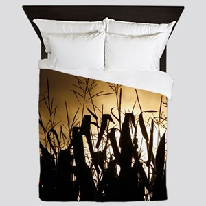 Corn field silhouettes Queen Duvet