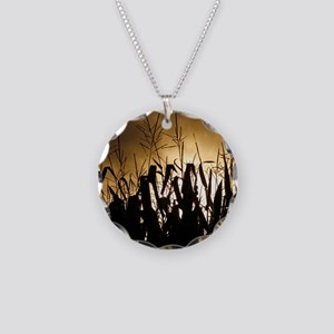Corn field silhouettes Necklace Circle Charm