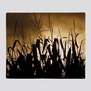 Corn field silhouettes Throw Blanket