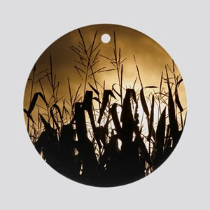 Corn field silhouettes Round Ornament