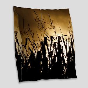 Corn field silhouettes Burlap Throw Pillow