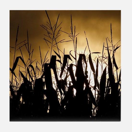 Corn field silhouettes Tile Coaster