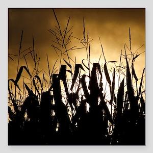 "Corn field silhouettes Square Car Magnet 3"" x 3"""