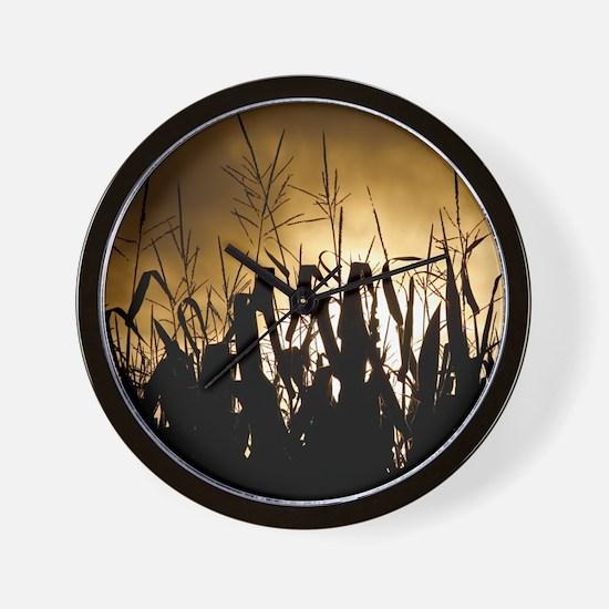 Corn field silhouettes Wall Clock