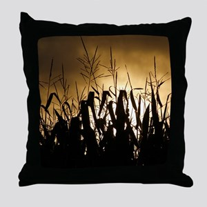 Corn field silhouettes Throw Pillow