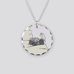 Purple Wings Necklace Circle Charm