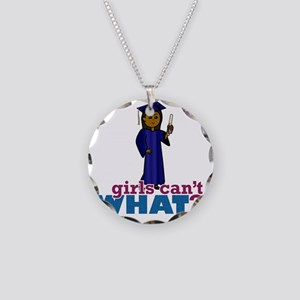 Girl Graduate in Blue Gown Necklace Circle Charm