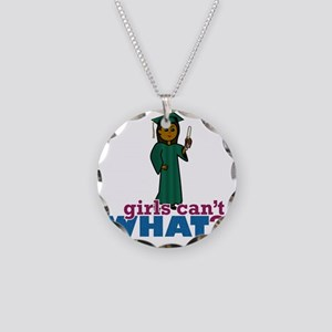 Graduation Girl in Green Necklace Circle Charm