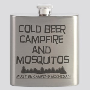 Must Be Camping Michigan Flask