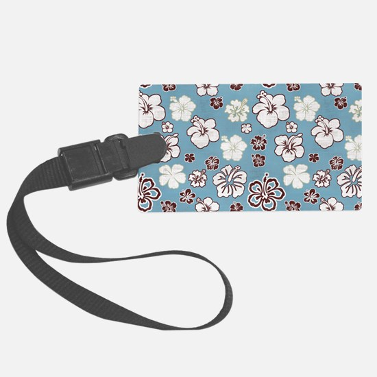 Tropical Hibiscus Carolina Blue Luggage Tag