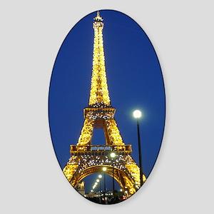 Eifel Tower at Night Sticker (Oval)