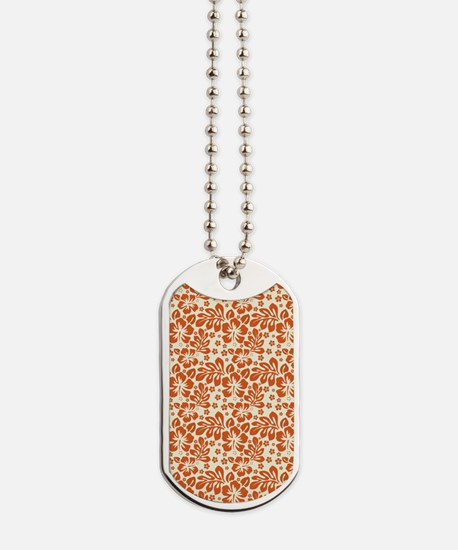 Tropical Carolina Hibiscus Orange Dog Tags