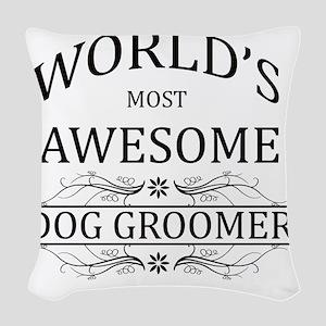 dog groomer Woven Throw Pillow