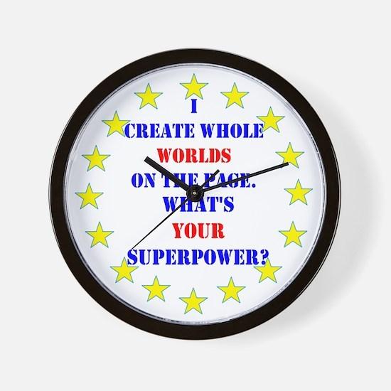 Superhero Writer Wall Clock