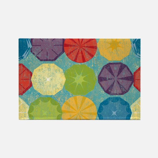 Colorful Beach Umbrellas Summer B Rectangle Magnet