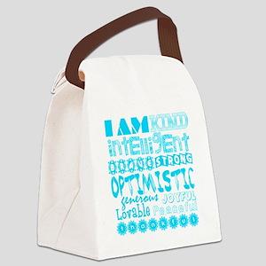 Positive Affirmations (Light Blue Canvas Lunch Bag
