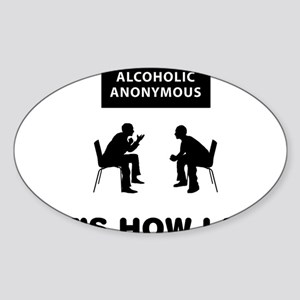Alcoholic-Anonymous-12-A Sticker (Oval)