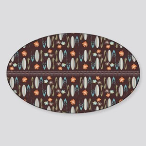 Vintage Beach Surf Boards Rustic Sticker (Oval)
