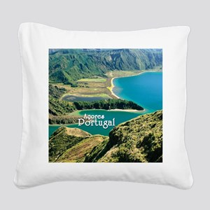 Lagoa do Fogo Square Canvas Pillow