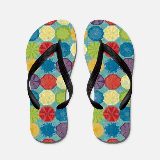 Colorful Beach Umbrellas Summer Blue Flip Flops