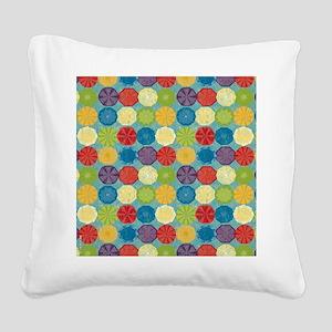 Colorful Beach Umbrellas Summ Square Canvas Pillow