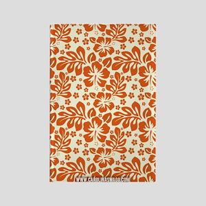 Tropical Carolina Hibiscus Orange Rectangle Magnet