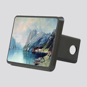 Fjord in Norway, painting  Rectangular Hitch Cover