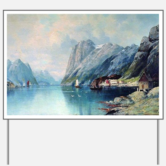 Fjord in Norway, painting by Lev Lagorio Yard Sign